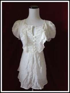 WHITE Ruffle Lace Crochet Sheer Puff Sleeve Flutter Flowly Shirt