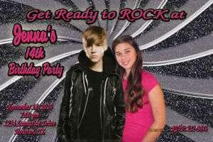 Justin Bieber Custom Photo Birthday Invitation