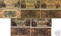 1870 SERIES SAN FRANCISCO CALIFORNIA GOLD NOTES 5PC SET