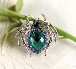 New Spider Brooch pin Blue Swarovski Crystals wholesale