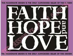 christian decal cross God faith hope love 8 x 10 A087
