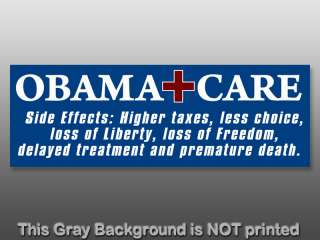 Side Effects Higher Taxes Less Bumper Sticker   decal nobama repeal no