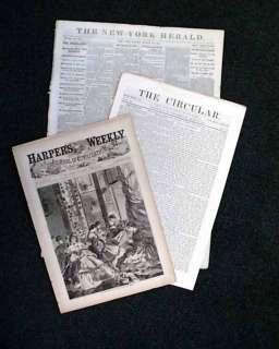 1861 Unique Civil War 3 Newspaper Set w/ Prints & News