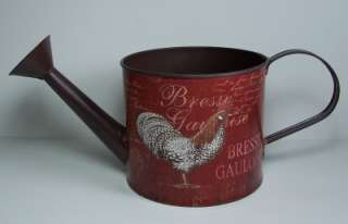 Vintage Style Small Metal Watering Can with Rooster Graphics