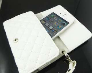 Leather Wristlet Case Purse Wallet 4 iPhone 4 S 3GS White SC1
