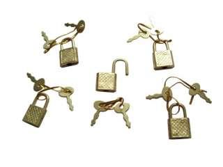 50) NEW Small Metal Padlock Mini Brass Box Lock w/ Key