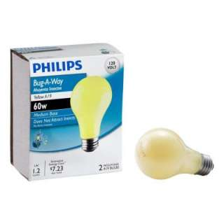 Philips PLC 60 Watt A19 Long Life Bug Light Bulbs (2 Pack) 415810 at