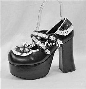 Demonia Charade 23 goth gothic lolita platform black white mary jane