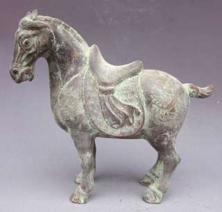 Old Chinese Purple Bronze Phoenix War Horse Statue
