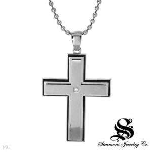 Simmons Mens Cross Pendant & Necklace Enamel Accent