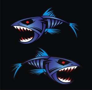 Large Blue Piranha 450mm x 250mm boat graphics stickers fishing