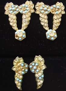 Art Deco 20s Dress Clip & Earring Set   Gorgeous
