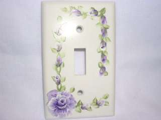 Hand Painted Purple Roses Light Switch Cover Plate Cottage Chic