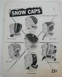 50s Knitting Crochet Pattern Booklet Girls Snow Caps