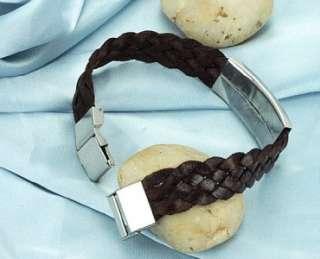 JPB06 Fashion 316L Stainless Steel Scorpion Brown Silk Weaving Braided
