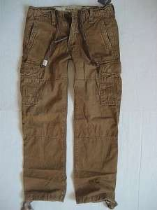 Abercrombie A&F Mens Military Cargo Pants Sz 28 30 32 34 Dark Khaki