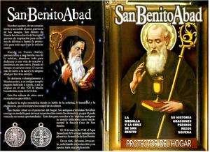 San Benito Abad Protector del Hogar Medalla Cruz Libro