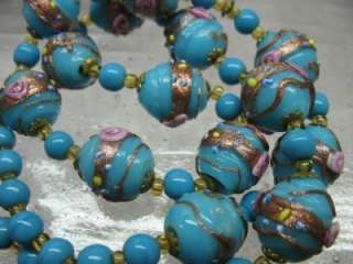 Turquoise Blue Copper Fleck Wedding Cake Glass Bead Necklace Venetian
