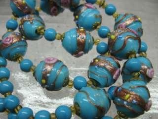 Turquoise Blue Copper Fleck Wedding Cake Glass Bead Necklace Venetian