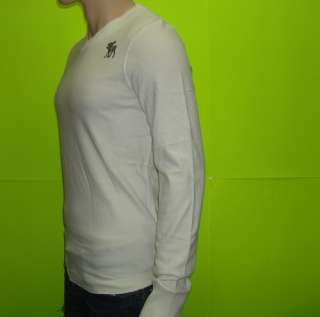 NEW ABERCROMBIE & FITCH MUSCLE SLIM FIT LONG SLEEVE WHITE V NECK T