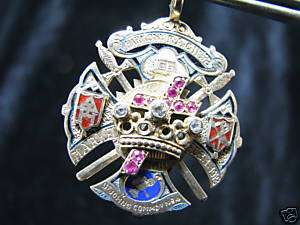 Knights Templar Crown Cross H.T. Winchester Gold Diamond Masonic