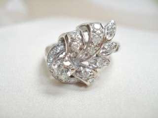 ANTIQUE VINTAGE 14K WHITE GOLD .65CTW DIAMOND RING Signed CRC