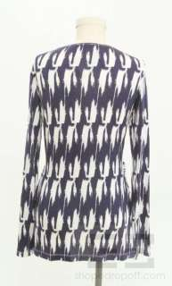 Navy Blue And White Print Jersey Twist Front Top Size L NEW