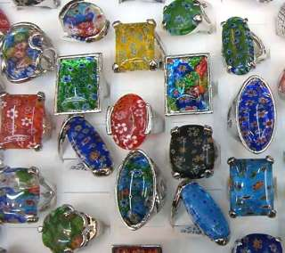 Mix Lots 25pcs Big millefiori glass stone colorful Ring