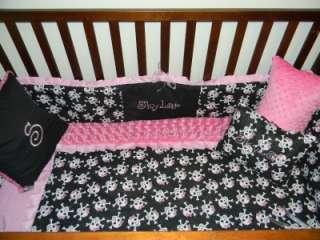 SKULLS Minky Dot & Pink & black crib bedding 7p blanket bumper crib