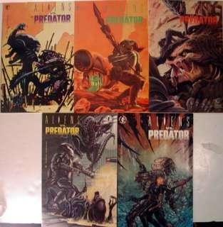 1990 Aliens vs Predator 5 Issue Comic Book Set NM