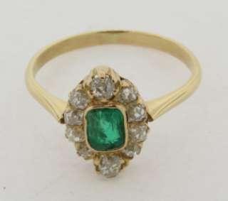 Antique Art Deco Emerald & Diamonds 18k Gold Ring