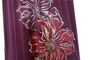 2X 3X Short Sleeve V Neck Keyhole Back Flower Jersey Maxi Dress Purple