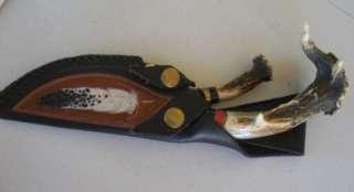 Alan Gerber set of hunting knives antlers custom sheath