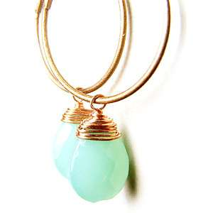 Stylish Handmade Blue Faceted Crystal Glass Bead Copper Hoop