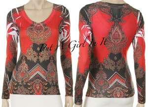 CRYSTAL RED NATIVE AMERICAN PAISLEY SUBLIMATION WESTERN BIKER V SHIRT