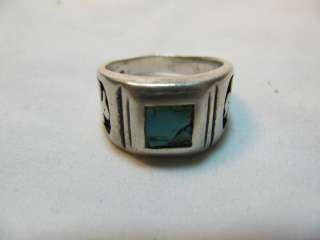 NATIVE AMERICAN SOUTHWEST STERLING & TURQUOISE RING w EAGLE SYMBOLS