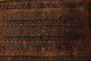 Antique Rust Balouch Bag Persian Wool Handmade Oriental Area Rug