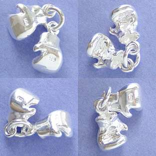 BOXING BOX GLOVES PAIR Sterling Silver Charm Pendant