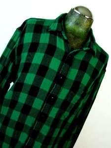 mens green black buffalo plaid GAP button down casual flannel shirt l