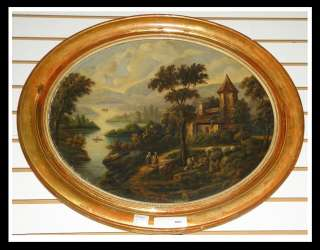 Antique French Landscape Oval Oil Painting w Country Home & Figures NR
