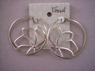 Fossil Brand Large Hoop Earrings Hoops Gold Tone
