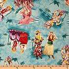 LOVE LUCY ESCAPADES LUAU BLUE 100% COTTON FABRIC 24X43 INCH PANEL
