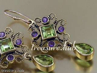 EXQUISITE 9ct SOLID Gold PERIDOT AMETHYST Drop EARRINGS