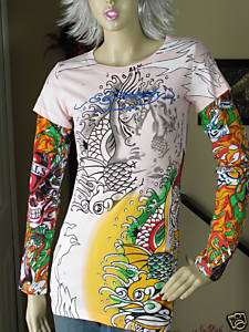 ED HARDY Pink Mermaid Tattoo Sleeve w/Rhinestones M NWT