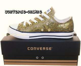 KIDS CONVERSE All Star GOLD GLITTER Trainers SIZE UK 12