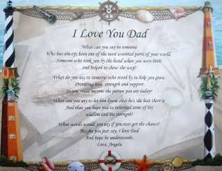 LOVE YOU DAD PERSONALIZED POEM GIFT LIGHTHOUSE PRINT