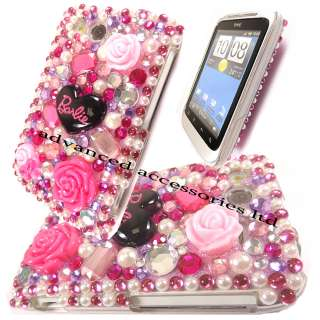 3D PINK FLORAL BLING DIAMOND HARD CASE DIAMANTE CRYSTAL COVER FOR HTC