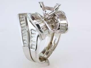 Diamond 3.00ct 14K White Gold Engagement Wedding Ring Semi Mount Set