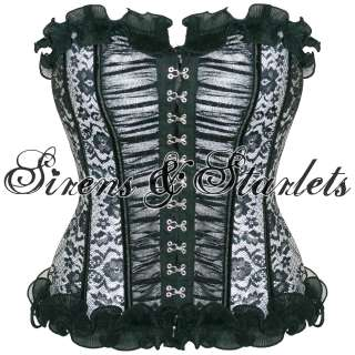 BLACK LACE STEAMPUNK VICTORIAN BURLESQUE CORSET TOP