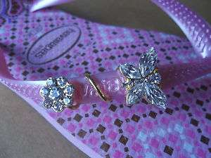 Havaianas Slim CurlyGem CLEAR CRYSTAL & GOLD BUTTERFLY fits on any